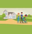 family walking near home vector image