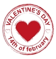 February 14 Valentines Day Red stamp imprint vector image vector image