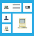 flat icon laptop set of computing vintage vector image vector image