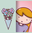 flowers bouquet design and woman with blouse vector image
