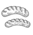 fried sausages in engraving style design element vector image vector image