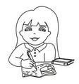 girl doing homework vector image
