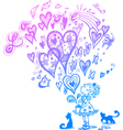 Girl with romantic magic bag and flying hearts vector image vector image
