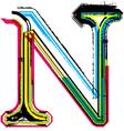 Grunge colorful font Letter N vector image vector image