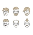 hair and beard on sketch vector image vector image