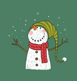 hand drawn christmas greeting card with snowman vector image vector image