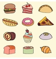 Hand drawn color fast food set vector image