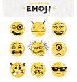 hand drawn set emoticons vector image