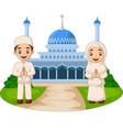 happy cartoon muslim kids in front mosque vector image