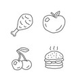 healthy and harmful nutrition linear icons set vector image vector image