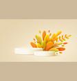 hello autumn 3d minimal background with autumn vector image vector image