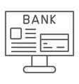 internet banking thin line icon finance and vector image vector image