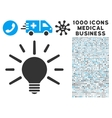 Light Bulb Icon with 1000 Medical Business Symbols vector image