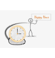Man with happy hour panel and clock