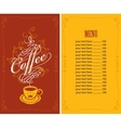 menu for a cafe with a cup of coffee vector image vector image