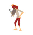 old pirate with hook hand male buccaneer cartoon vector image vector image