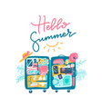 open suitcase with beach accessories inside vector image