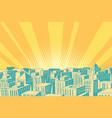 pop art sunrise over the modern city vector image