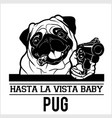 pug dog with gun and cigar - gangster head vector image vector image