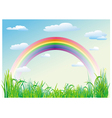 rainbow on a background of blue sky vector image