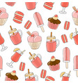 seamless background a set drinks pastries vector image