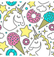 seamless pattern with unicorn clouds stars vector image vector image