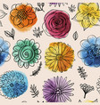 seamless watercolor pattern with doodles flowers vector image vector image