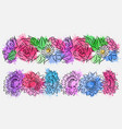 set of flower brushes with watercolor splashes vector image vector image