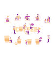 set people drinking and cooking coffee tiny vector image