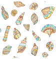 shells colections seamles pattern in pastel vector image vector image