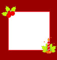 simple christmas frame decorated with holly ilex vector image vector image