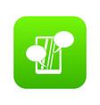speech bubble on phone icon digital green vector image vector image