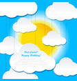 sun and clouds postcard vector image