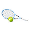 tennis racket and green ball icon isolated sports vector image vector image