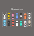 top view different cars city parking parking z vector image vector image