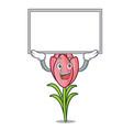 up board crocus flower character cartoon vector image vector image