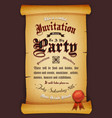 vintage invitation on parchment vector image vector image