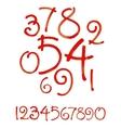 Watercolor hand written orange numbers vector image vector image
