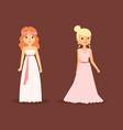 wedding bride woman character dress elegance style vector image vector image
