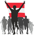 Winner with the Austria flag at the finish vector image vector image
