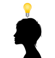 Woman silhouette with idea light bulb vector image vector image