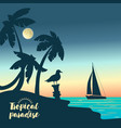yacht on a sunset and silhouettes of palms vector image vector image