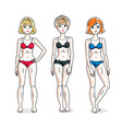 young beautiful women posing in colorful bikini vector image vector image