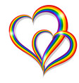 two rainbow pride heart shape symbol lgbt vector image