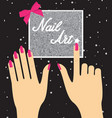 woman hand with pink fingernails on silver vector image