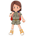 a brunette girl scout character vector image vector image