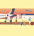 air flights concept people exit from airplane