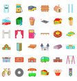 architecture icons set cartoon style vector image vector image