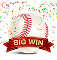 baseball award red ribbon big sport game vector image
