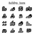 basic building in 3 dimension icon set vector image vector image